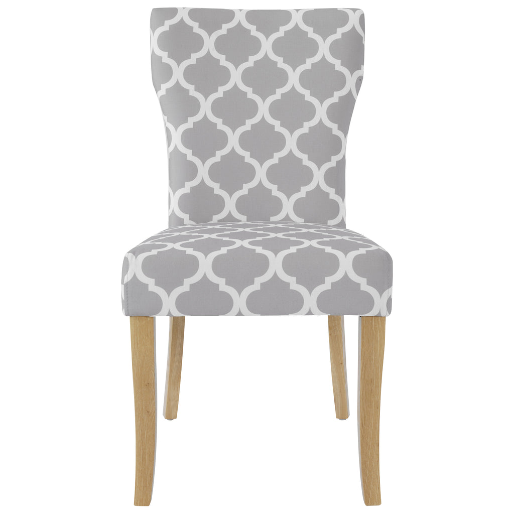 2x Grey & White Fabric Dining Chairs