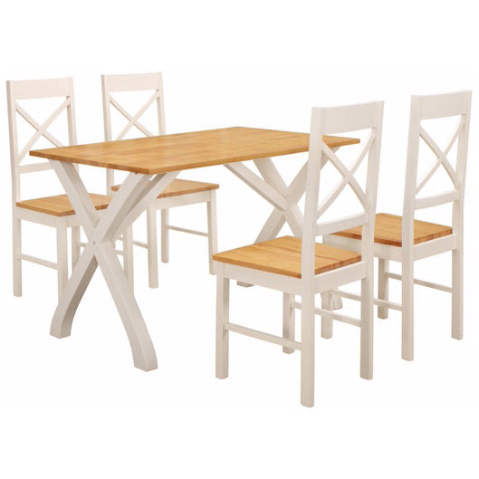 Solid Wood & White Painted Finish Dining Set