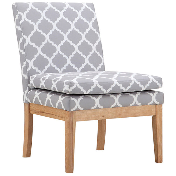 Grey & White Fabric Accent Chair