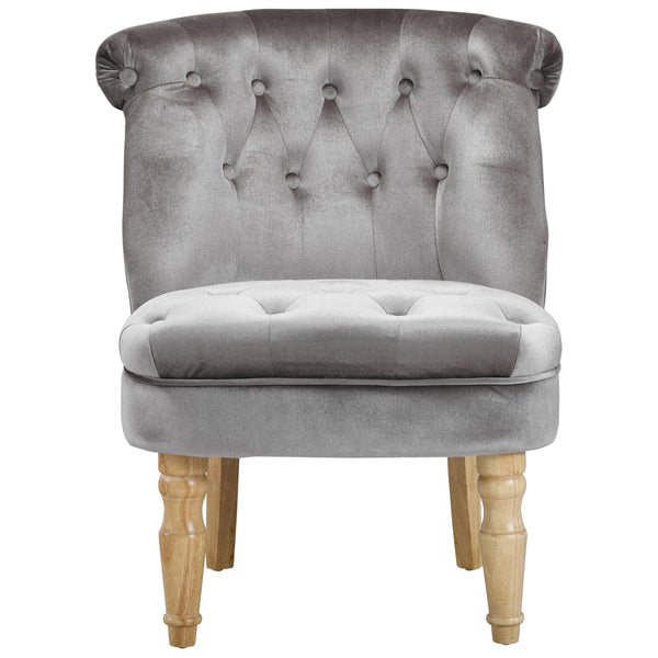 Silver Velvet Accent Chair