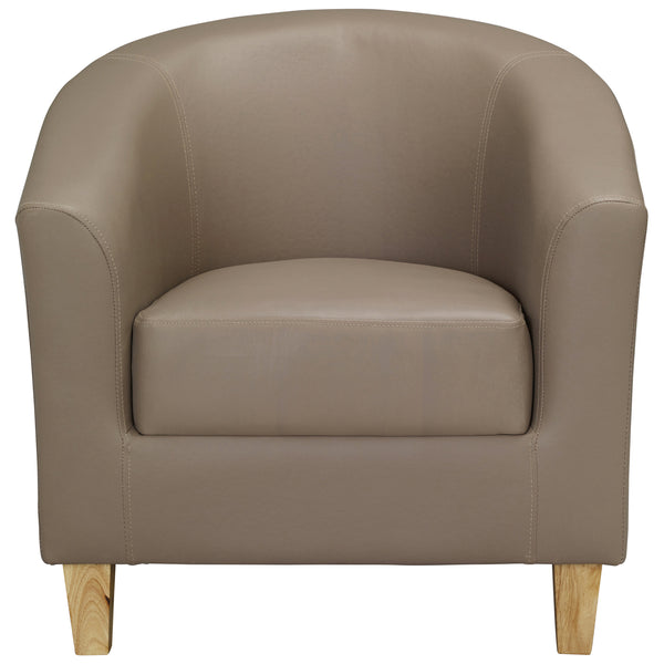 Taupe Faux Leather Armchair
