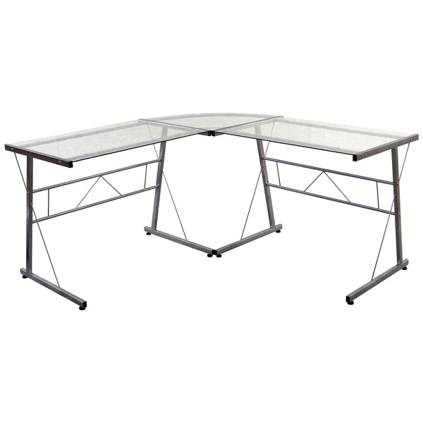 Glass & Silver Metal Finish Office Desk