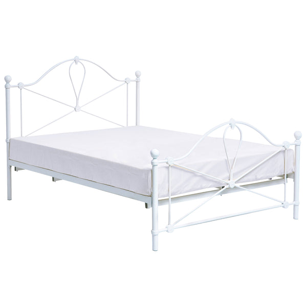 White Metal Finish Bed Frame