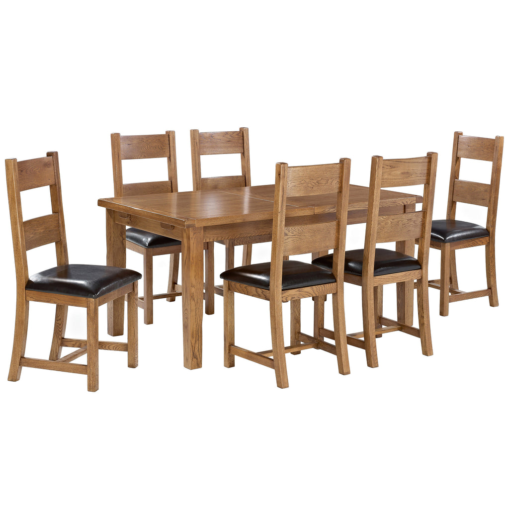 Solid American White Oak Finish Dining Set