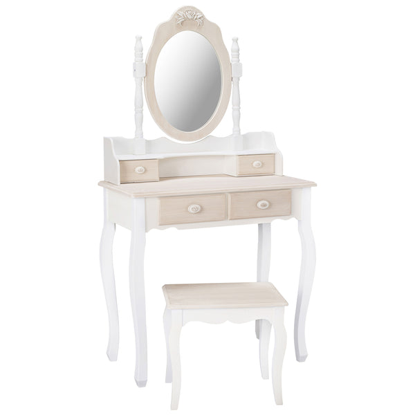 White & Cream Finish Dressing Table Set