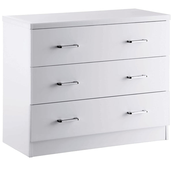 High Gloss Finish Chest of 3 Drawers