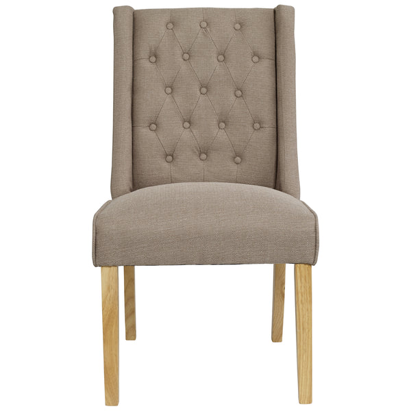 2x Linen Style Fabric Dining Chairs