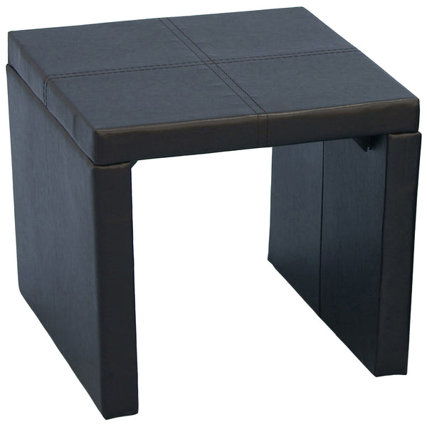 Expresso Brown Leather Side Table