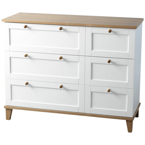 White & Ash Finish Chest of 3 Drawers