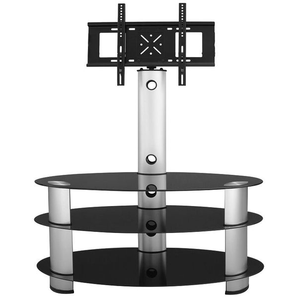 Black Glass & Silver TV Stand
