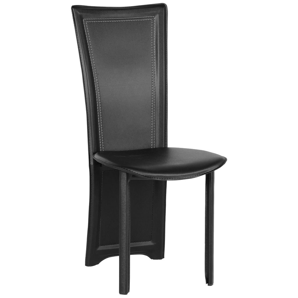 4x Black Leather Dining Chairs