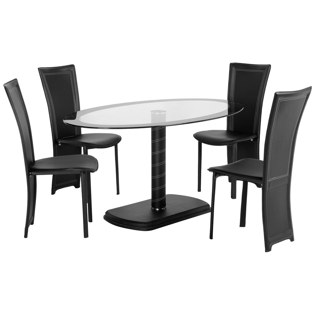 Black & Clear Glass Dining Set