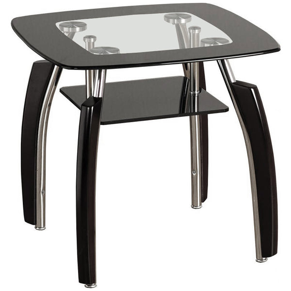 Black & Clear Glass Side Table