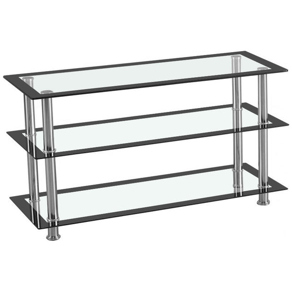 Black & Clear Glass TV Unit