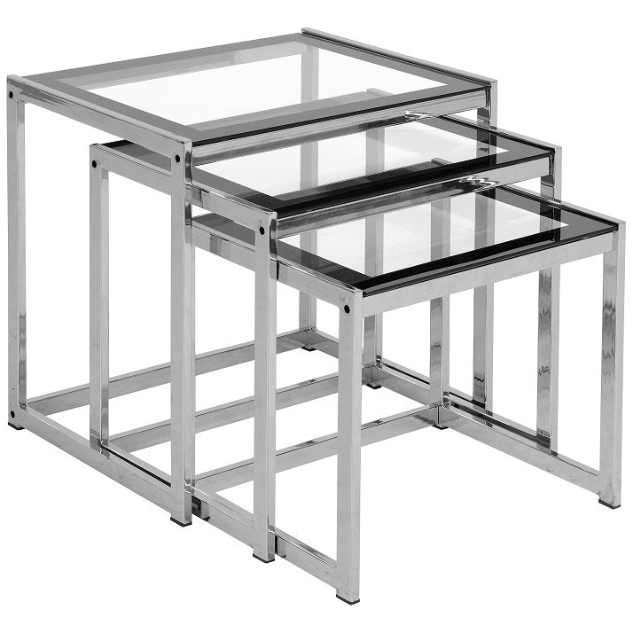 Black & Clear Glass Nest of 3 Tables