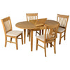 Natural Oak Finish Extending Dining Set