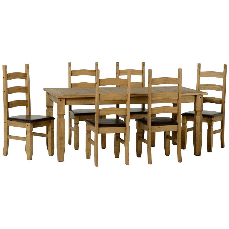 Distressed Waxed Pine Finish Dining Set