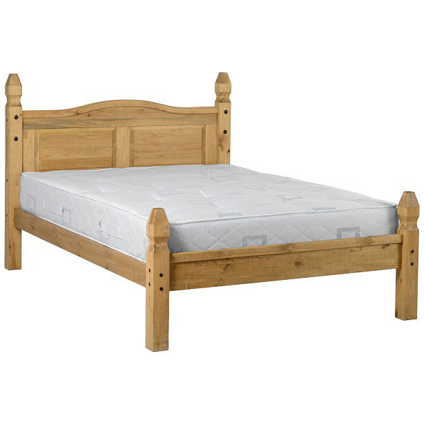 Distressed Waxed Pine Finish Bed Frame
