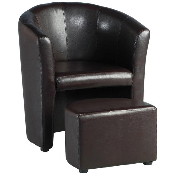 PU Leather Armchair & Footstool