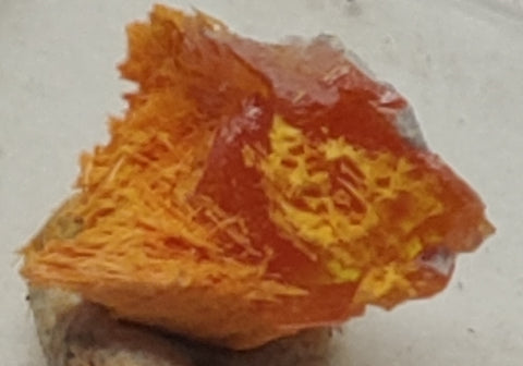 Wulfenite and Mimetite from Rowley Mine, Arizona. 1.1 cm #5019