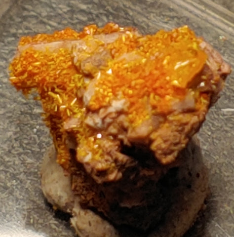 Wulfenite and Mimetite from Rowley Mine, Arizona. 1.3 cm #4080