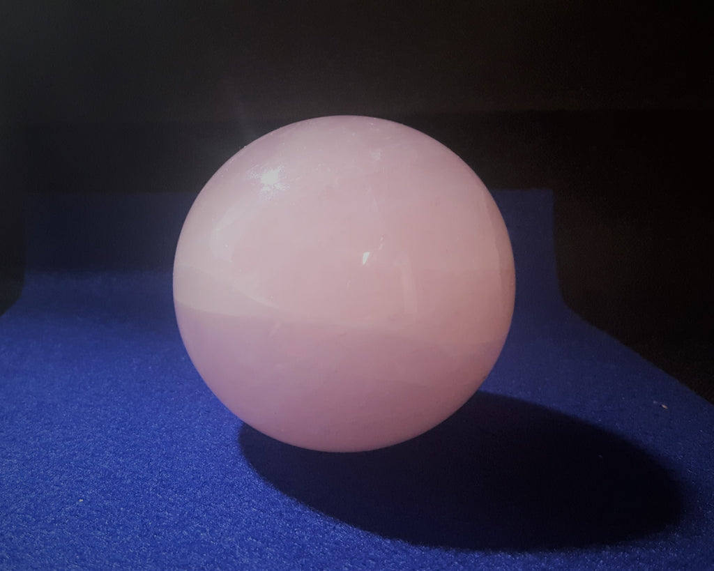 Natural Pink Rose Quartz Sphere. 8.4cm diameter. Stock #2002sl