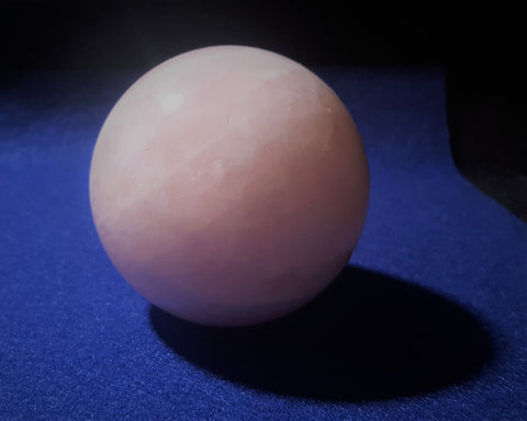 Natural Pink Rose Quartz Sphere. 7.1cm diameter. Stock #2004sl