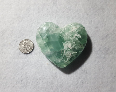 "Fluorite Heart, Mexico, 3 1/8"" Stock # 204sl"