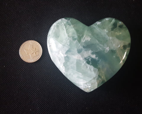 "Fluorite Heart, Mexico, 3 1/8"" Stock # 200sl"