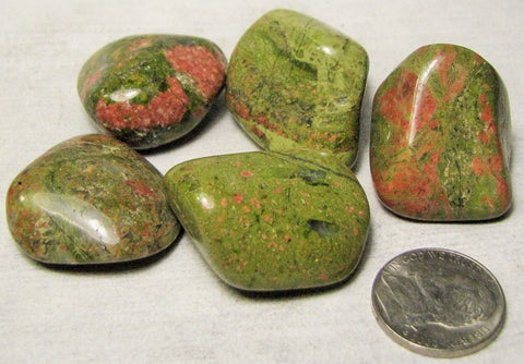 Unakite, 5 Tumbled from South Africa.