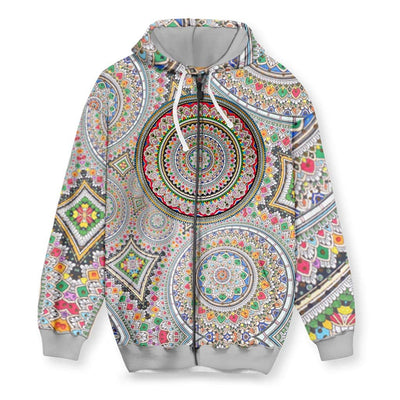 Infinite Mandala Men's Zip-Up Hoodie