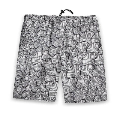 SCRIBBLEWAVE - Black & White Men's Gym Shorts