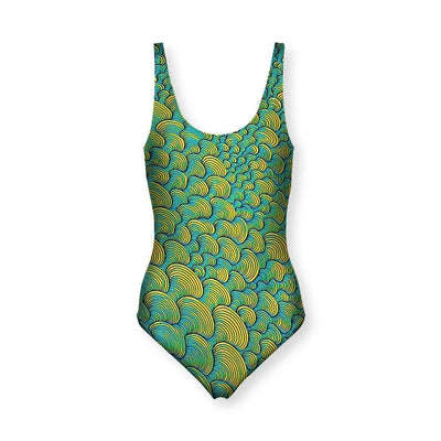 SCRIBBLEWAVE - Green Women's One Piece Swimsuit
