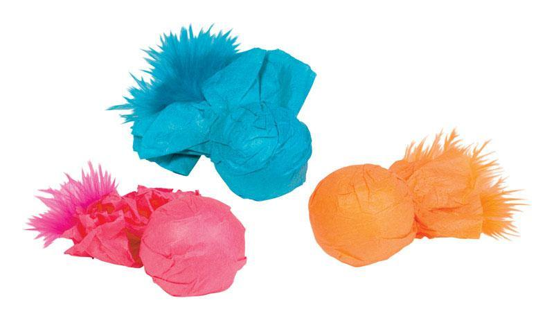 Kylies Brights  Assorted  Paper Ball Rattlers with Feather  Plastic - 4PawShop