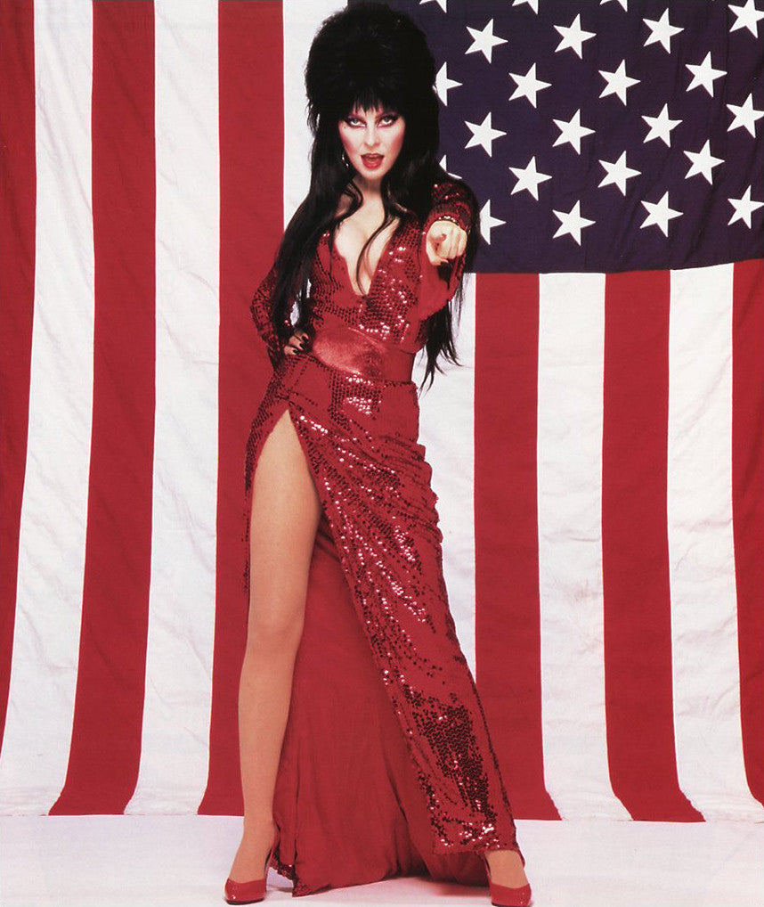 ELVIRA MISTRESS OF THE DARK WITH USA AMERICAN FLAG