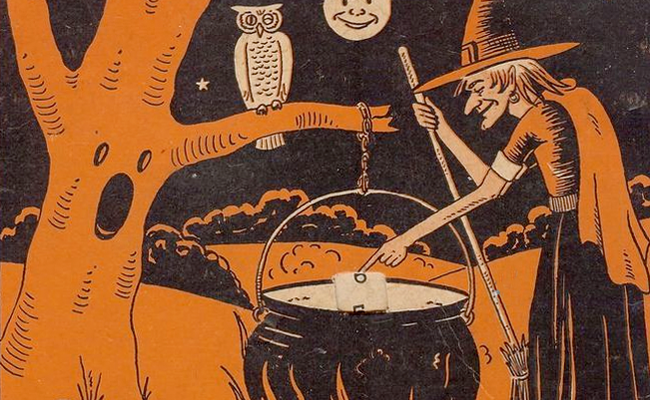 HALLOWEEN WITCH CAULDRON OWL MOON WITCHCRAFT