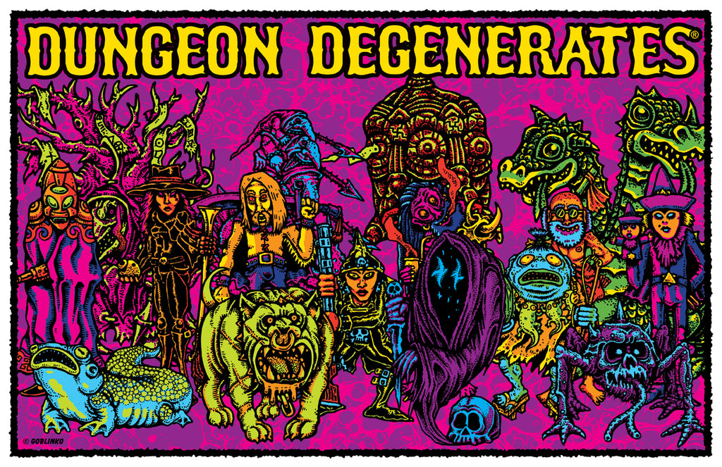 "DUNGEON DEGENERATES size comparison x 3 - 11"" x 17"" Posters"