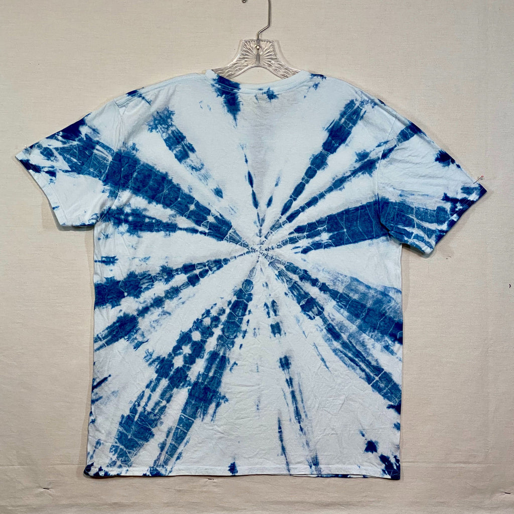 Hand Dyed One of a kind Shibori Indigo t-shirt by the Stitch Witch - XL