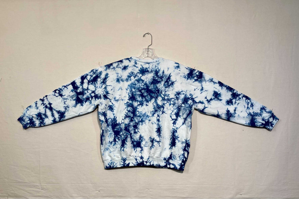 HAND DYED ONE OF A KIND SHIBORI INDIGO CREWNECK SWEATSHIRT BY THE STITCH WITCH - LARGE