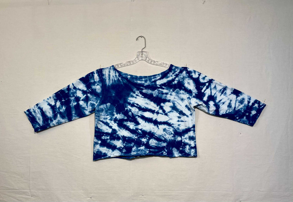 HAND DYED ONE OF A KIND SHIBORI INDIGO CROPPED SWEATSHIRT BY THE STITCH WITCH - MEDIUM/LARGE
