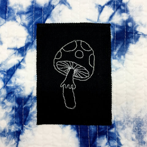 Stitch Witch, Embroidered, One of A Kind Black Mushroom on White Patch