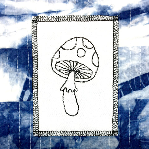 Stitch Witch, Embroidered, One of A Kind White Mushroom on Black Patch