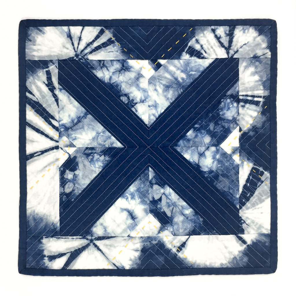 STITCH WITCH - HAND DYED, QUILTED, SHIBORI INDIGO SPACE MAT #1