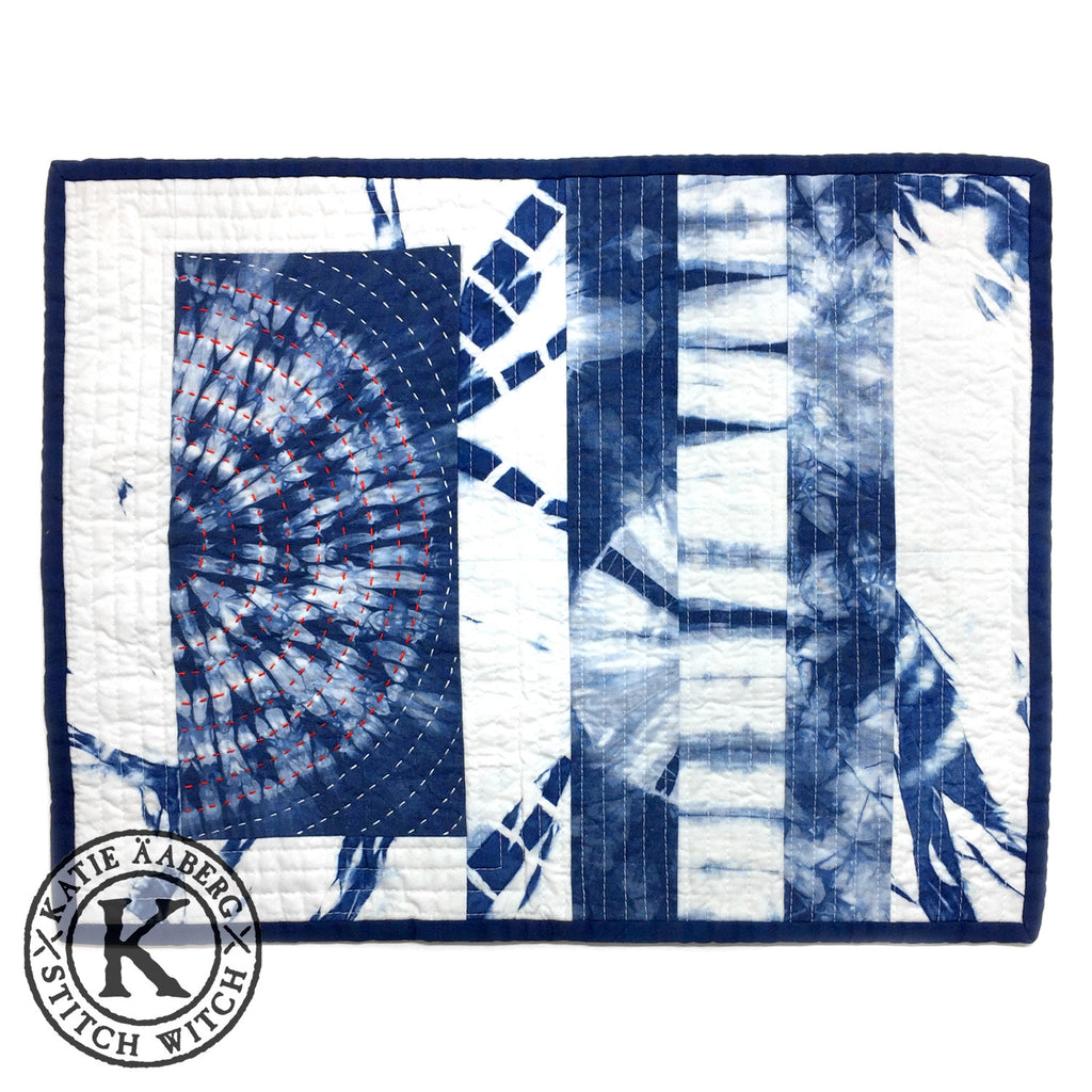 Stitch Witch - Hand Dyed, Quilted, Shibori Indigo Space Mat #3
