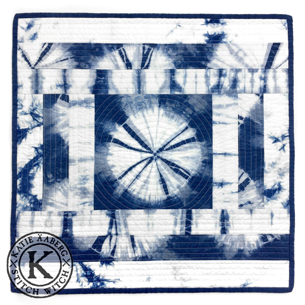 Stitch Witch - Hand Dyed, Quilted, Shibori Indigo Space Mat #4