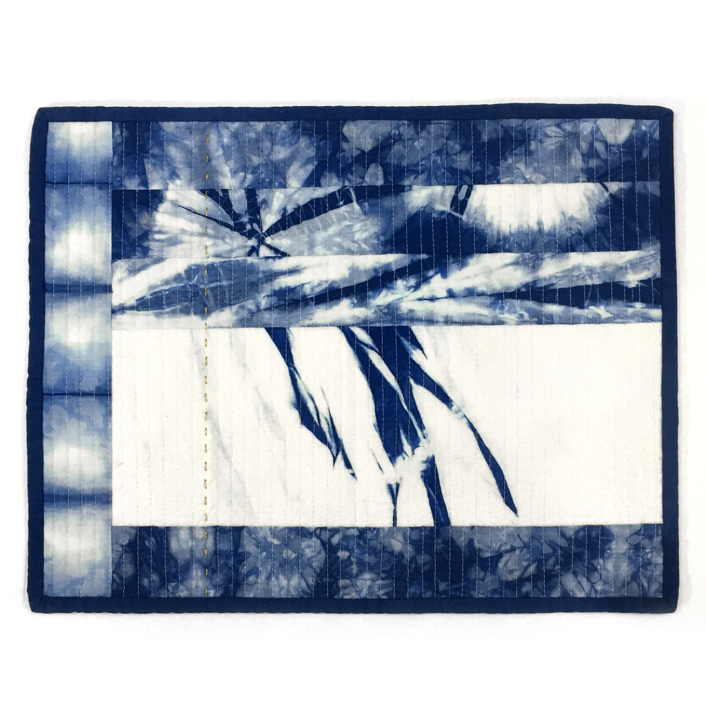 Stitch Witch - Hand Dyed, Quilted, Shibori Indigo Space Mat #5