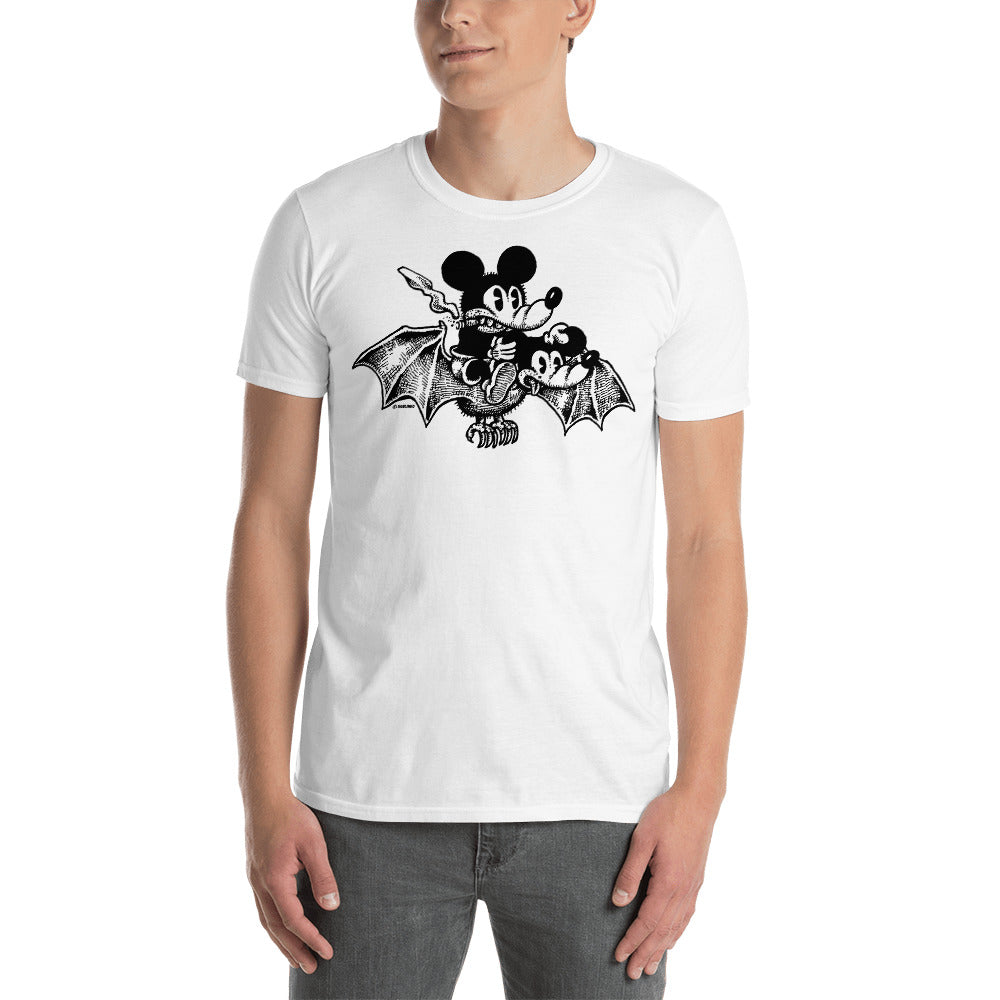Mickey Bat on white Short-Sleeve Unisex T-Shirt