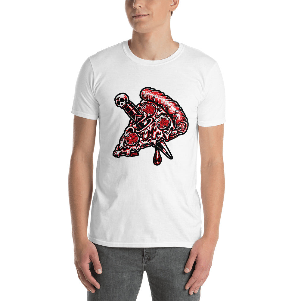 Pizza Knife on white Short-Sleeve Unisex T-Shirt