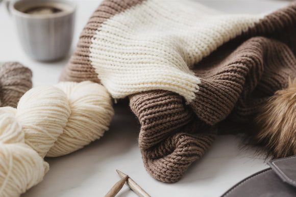 Brown and White yarn sweater