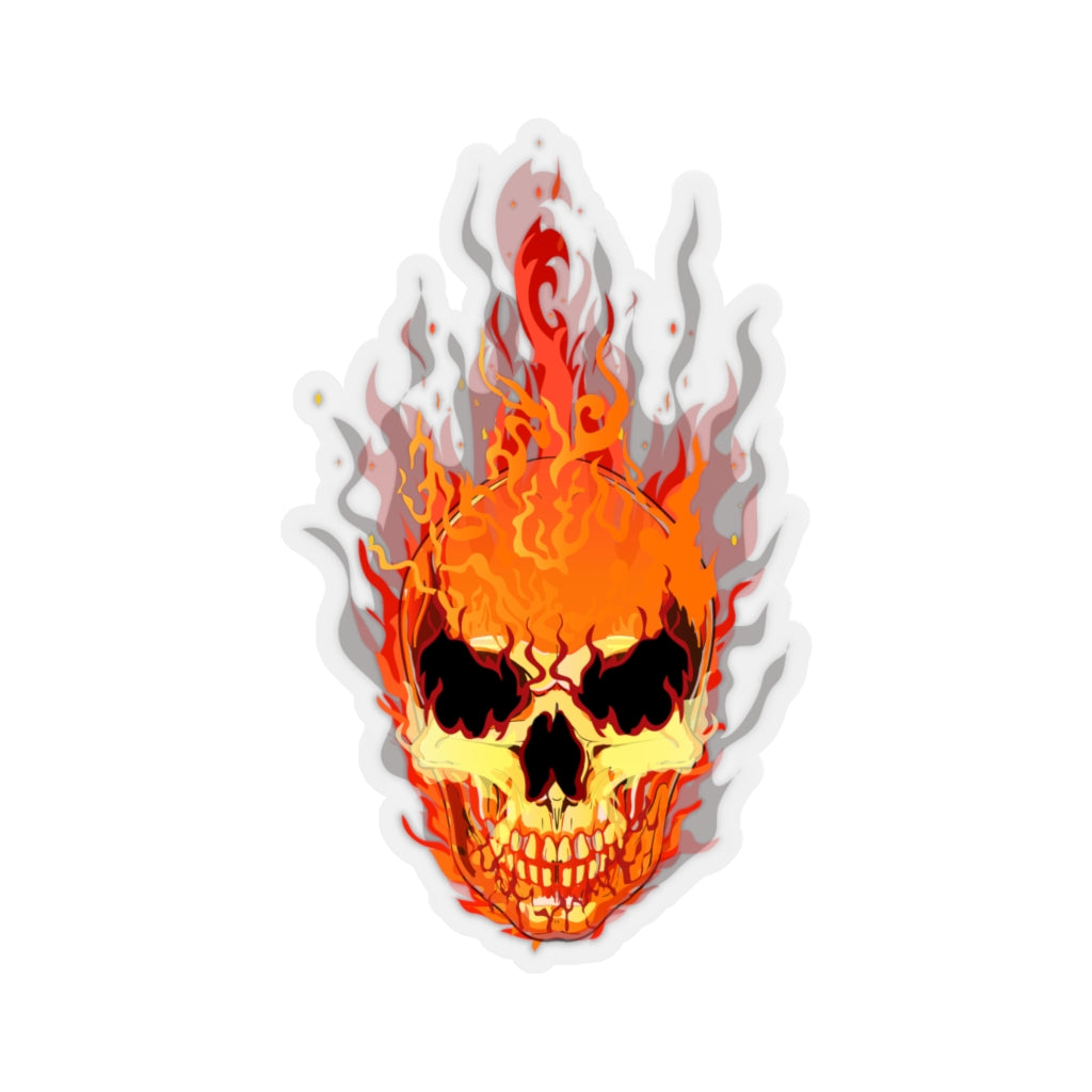 Flaming Skull Kiss-Cut Sticker